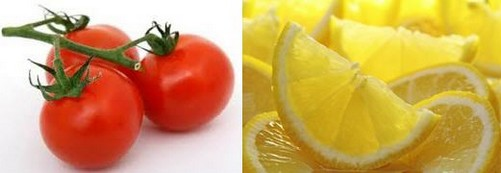 Tomatoes and lemons for reducing suntan