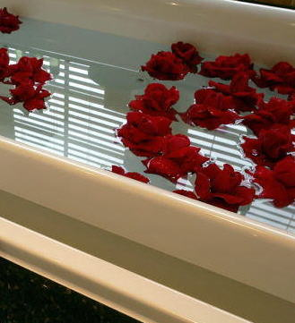 Roses in bath water